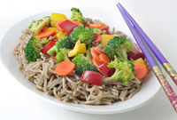 Savory Garden Vegetables with Buckwheat Noodles